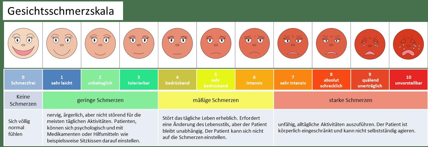 Die Numerische Ratingskala hat sich als Variante mit den meisten Vorteilen erwiesen. Ergänzt mit der Faces Pain Scale wird die Skala noch plastischer und einfacher zu interpretieren.