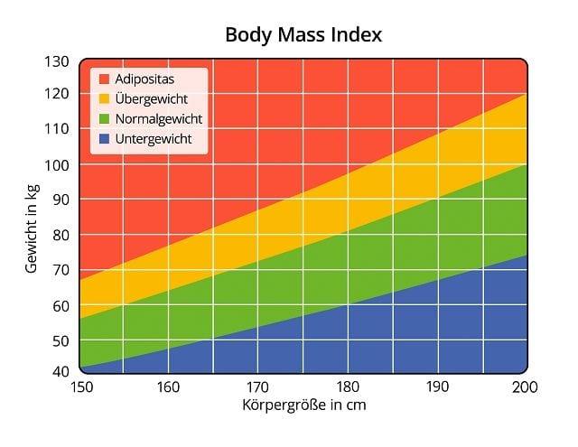 Der BMI (Body-Mass-Index) ist Wert der das Verhältnis von Gewicht zu Körpergröße beschreibt. Der BMI stellt allerdings nur einen Richtwert dar und berücksichtigt weder Statue, Muskelmasse noch Geschlecht.