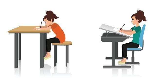 Darstellung einer ergonomisch guten Sitzhaltung