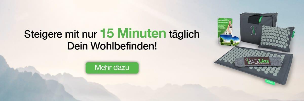 """Infobox für Ursachenartikel für die BACKLAxx-Matte - """"Steigere mit nur 15 Minuten täglich Dein Wohlbefinden"""""""