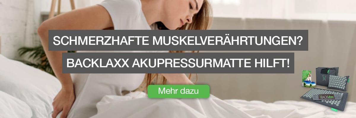 """Infobox für Ursachenartikel für die BACKLAxx-Matte - """"Schmerzhafte Muskelverhärtungen? BACKLAXX Akupressurmatte hilft"""""""