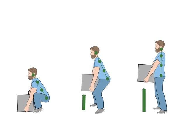 Bei anheben von Lasten vom Boden ist darauf zu achten, dass man in die Knie geht und dabei seinen Rücken gerade hält.
