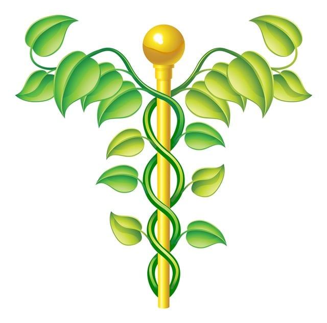 Der Kadukeus ist der Herlodstab des altrömisches Gottes Merkus und symbolisiert die Medizin.