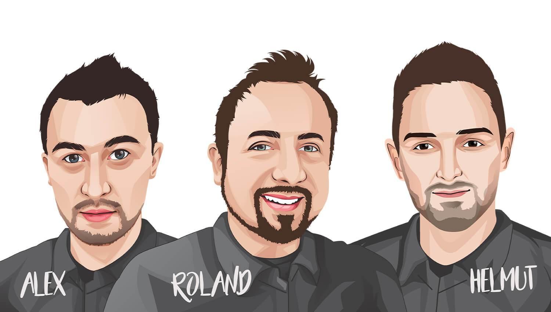 Die Gründer von BACKLAxx Alex, Roland und Helmut.